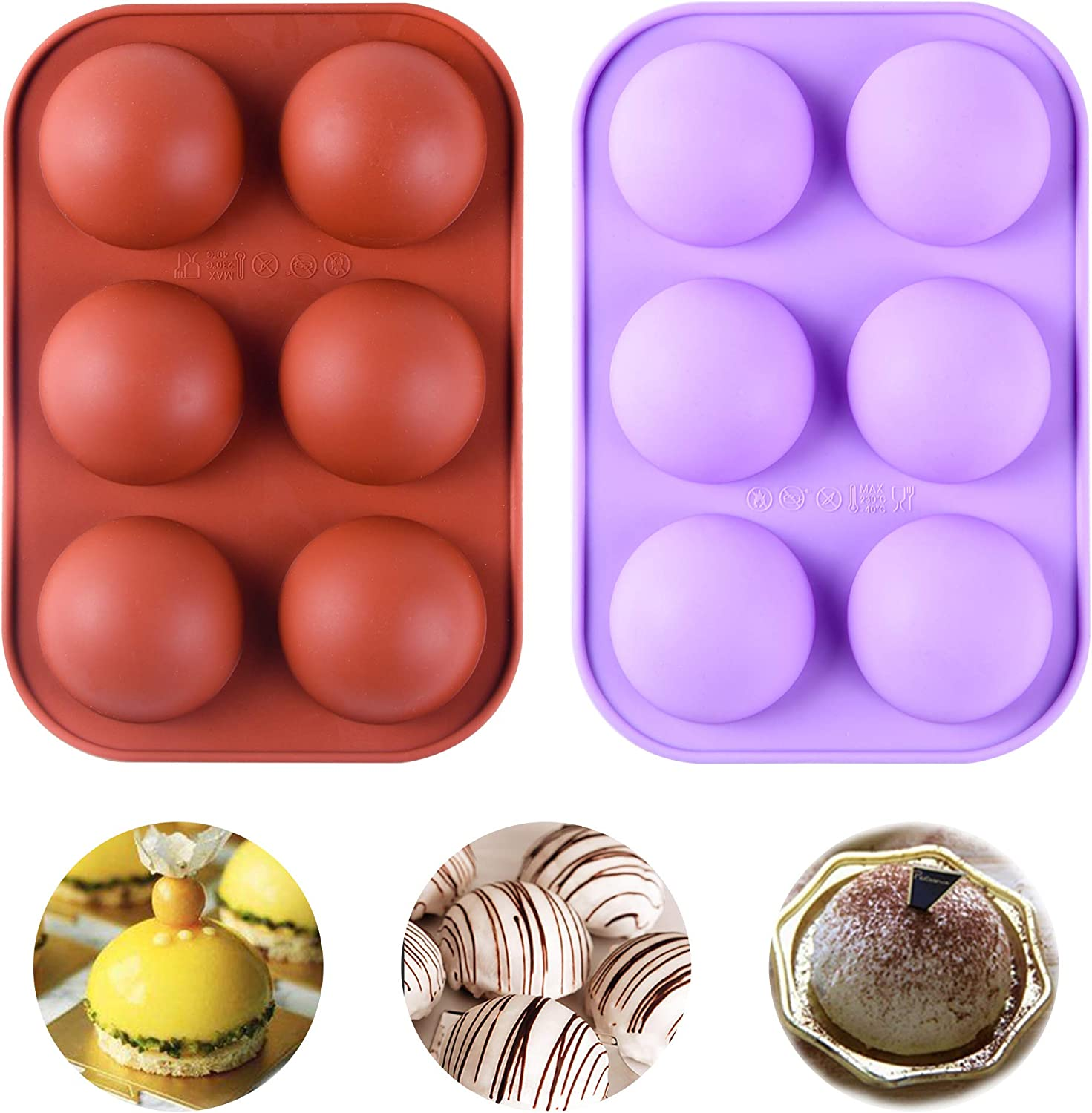 2 Pcs 6 Holes silicone molds Bomb Limited time cheap sale chocolate Chocolate Hot for Ranking TOP1