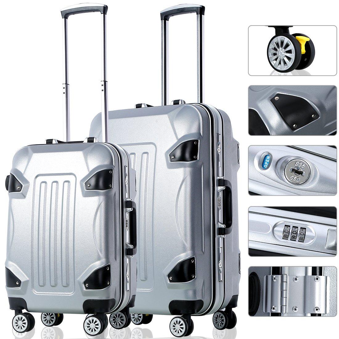 2 Piece Travel Luggage Set Travel Luggage Bag With TSA Lock Spinner Hard Shell Lightweight Suitcase Luggage Travel Bag (Grey)