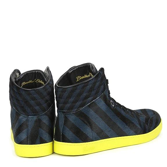 Gucci Zapatillas azul negro becerro pelo cuero Hightop limitada 357172 4180 (9 U.S. / 8,5 G): Amazon.es: Zapatos y complementos