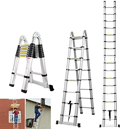5M Portable A-Frame Ladder Multi-Purpose Aluminium Telescopic ...