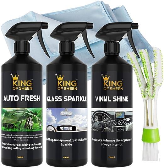 King Of Sheen Interior Car Reinigungsset Auto Fresh 500ml Vinyl Glanz 500ml Und Glas Sparkle 500ml Professionelles Glas Mikrofasertuch Und Auto Lufterfrischer Auto