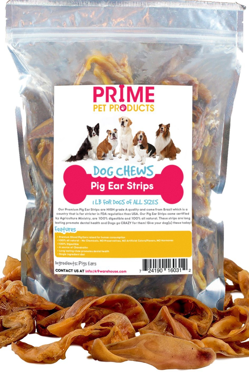 K9KONNECTION Pig Ears Strips for Dogs - 1 lb Bag (20+Strips) of All Natural Healthy Dog Treat, Made of Pure Pork Pig Ears - Better Alternative to Rawhide Dog Chews for Dogs