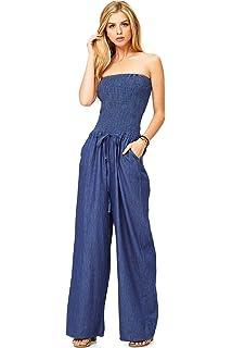 498525ab353a Amazon.com  Rachel Rachel Roy Women Wide Leg Denim Jumpsuit Blue ...