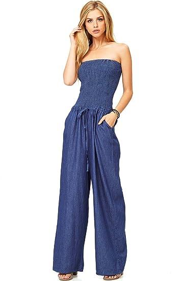 buy attractive price buy Amazon.com: Hendi Women's Juniors Denim Tube Top Wide Leg ...