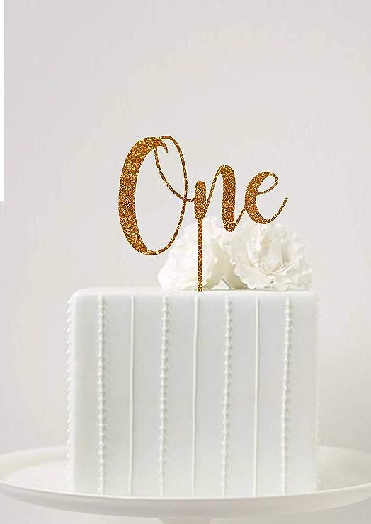 Decoración para tarta de primer cumpleaños con texto en ...