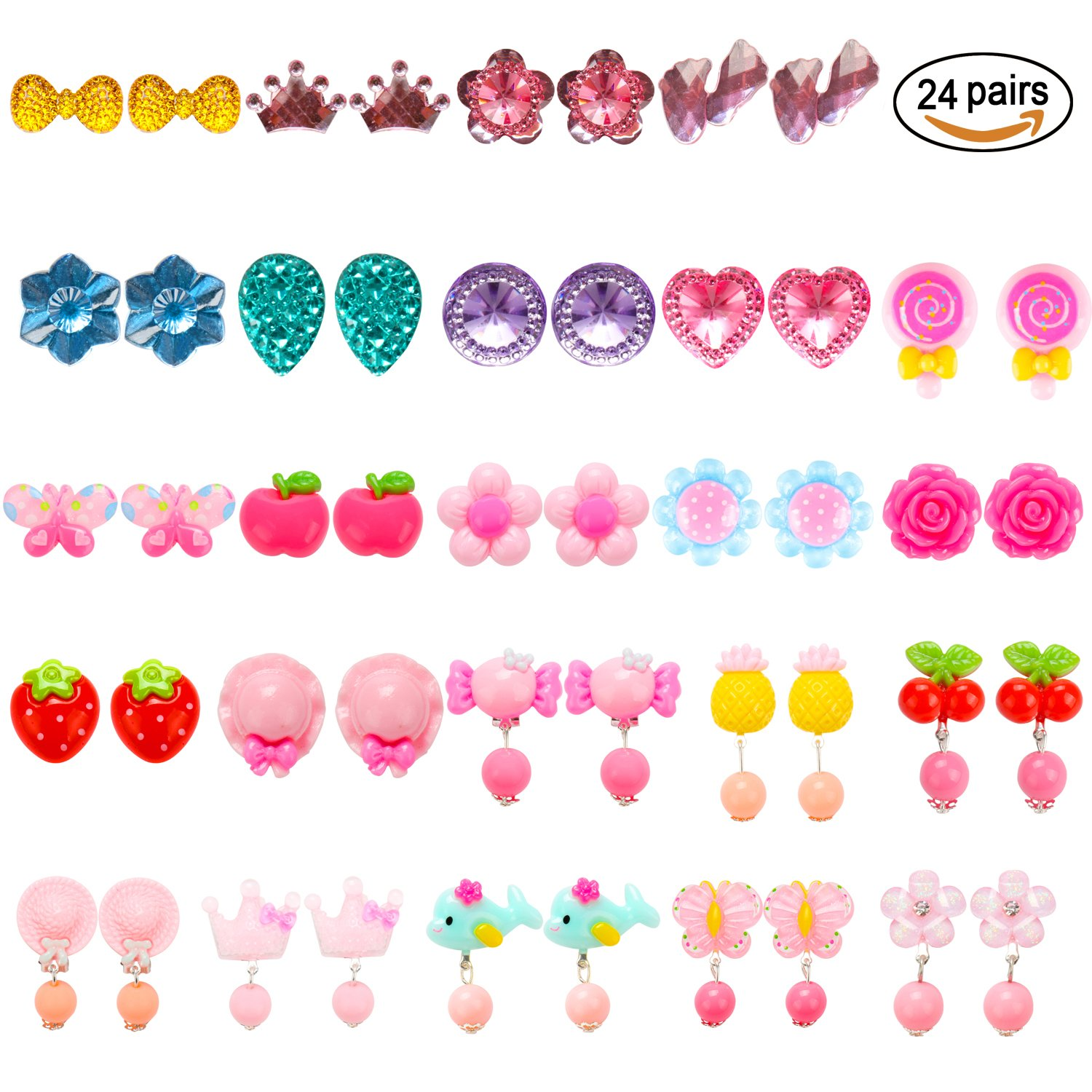 HaiMay 24 Pairs Clip-on Earrings Girls Play Earrings With Different Styles For Party Favor, All Packed in 3 Clear Boxes