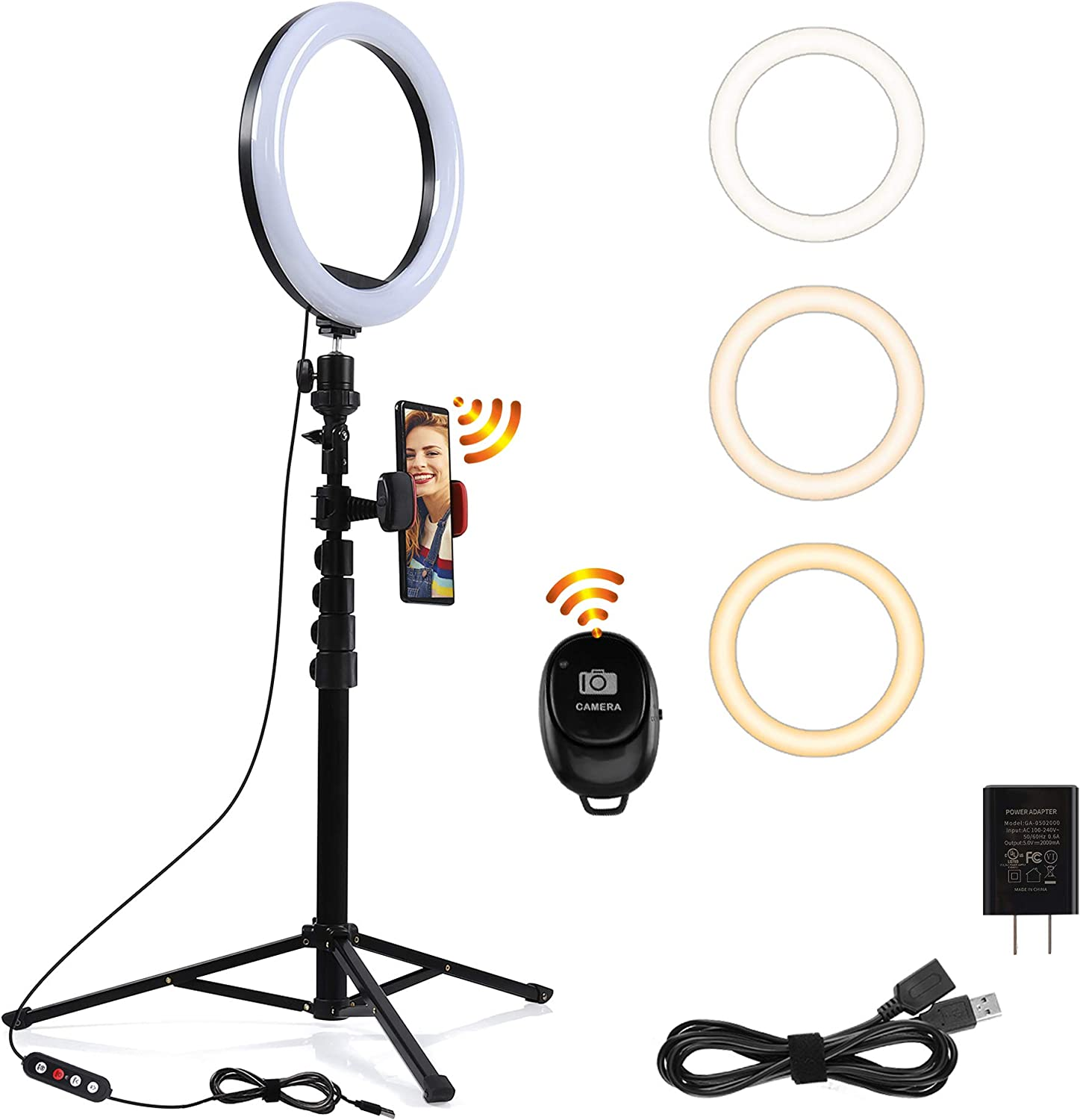"""PrawnHz 10"""" Ring Light Stand with Phone Holders – Arch Shape Boost Brightness 40% – Adjustable Lighting Modes – Remote Control – Home Selfie Video Recording – TikTok and YouTube"""