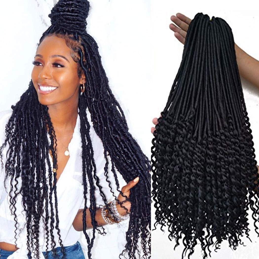 Amazoncom 20 Inch Black Curly Faux Locs Crochet Hair 6 Packs Soft