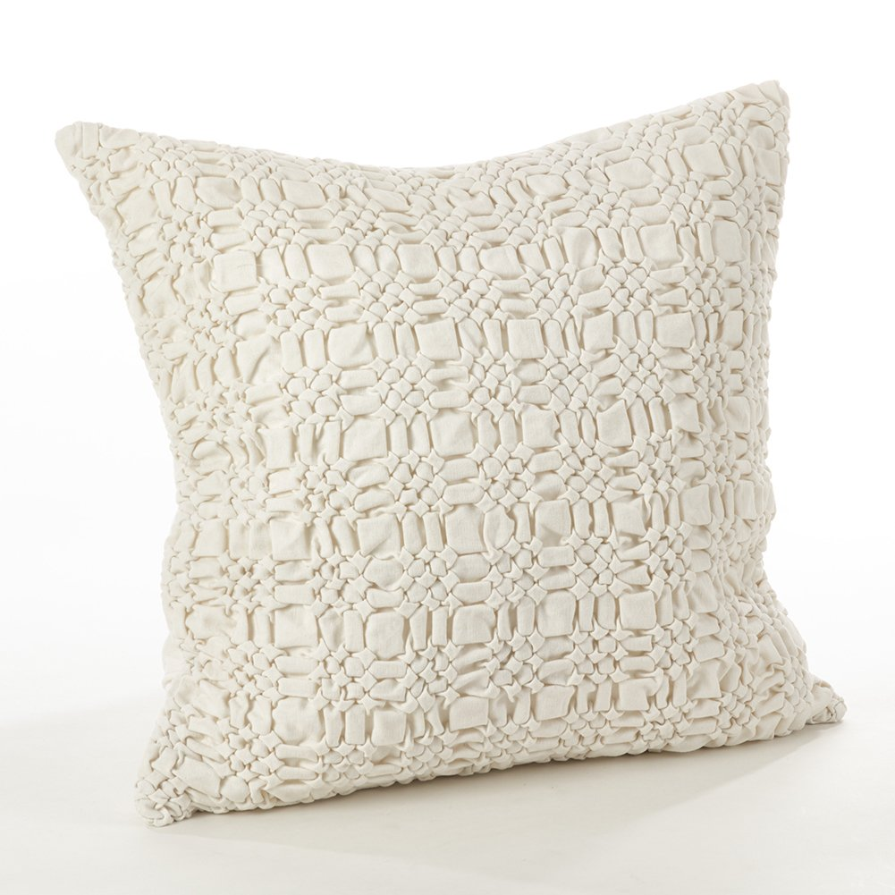 Cotton Throw Pillow Inserts : Fennco Styles Brisbane Collection Smocked Design Down Filled Cotton Throw Pillow eBay