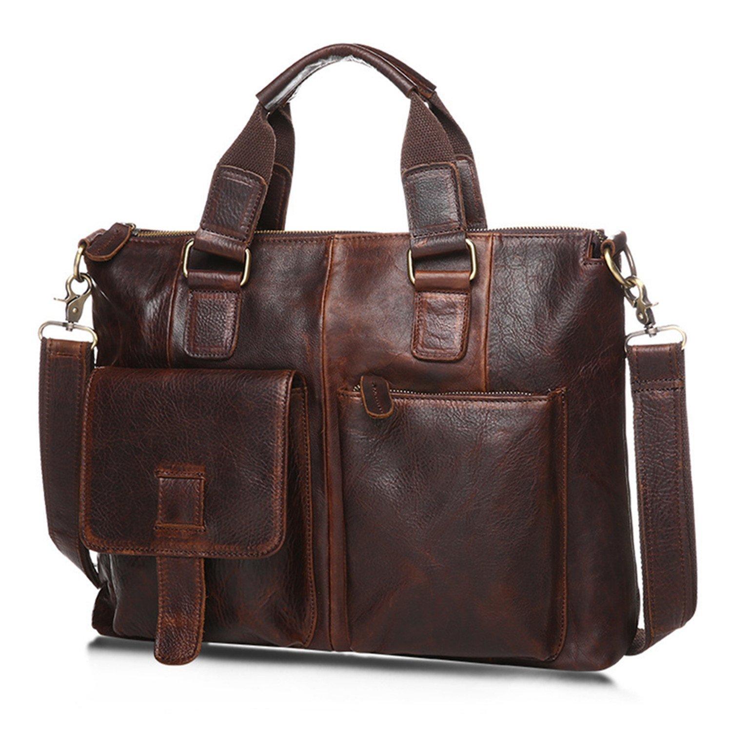 DRF Leather Laptop Messenger Bag Business Office Briefcase Satchel for Men BG-262 (Coffee)