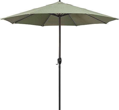 California Umbrella ATA908117-FD11 Casa Series Market, Crank Lift, Auto Tilt, Bronze Pole, Patio Umbrella, 9 Round, Terrace Fern