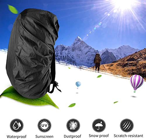 ONSON Backpack Rain Cover, Nylon Waterproof Backpack Rain Cover,Water-Resistant Backpack Rucksack Bag Rain Cover,Rucksack Water Protector Cover Adjustable for Hiking,Camping,Climbing,Cycling