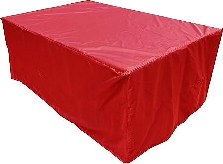 KaufPirat Premium Funda para Muebles de Jardín 180x90x75 cm Cubierta Impermeable Funda para Mesa para Mobiliario de Exterior Rojo: Amazon.es: Jardín
