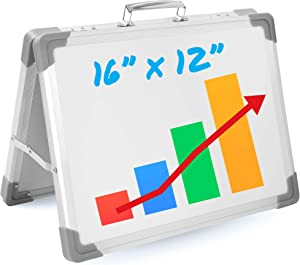 Magnetic Dry Erase Board for Kids Learning - Small Foldable Standing White Board for Desktop - Portable Mini White Board Easel - Double Sided Desk Whiteboard or Table Top for Teachers
