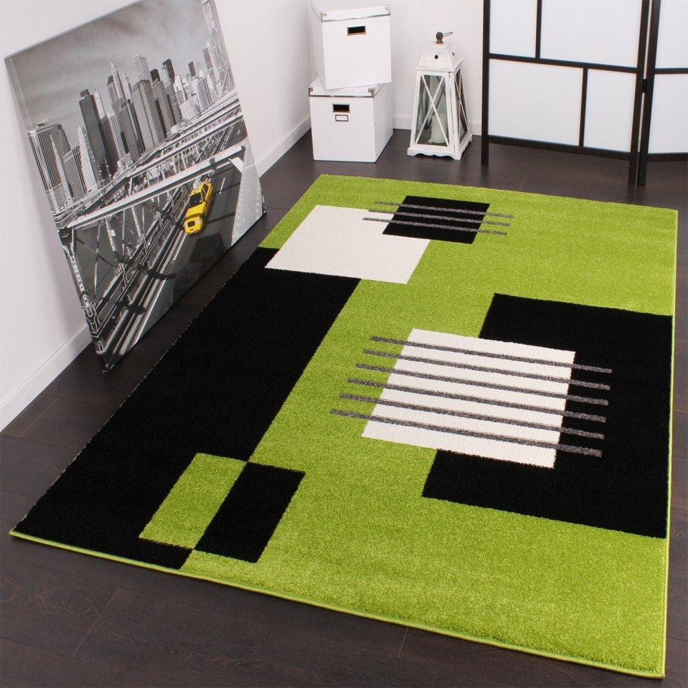 Designer Teppich Modern Karo in Grün Schwarz Weiss Top Qualität zum ...