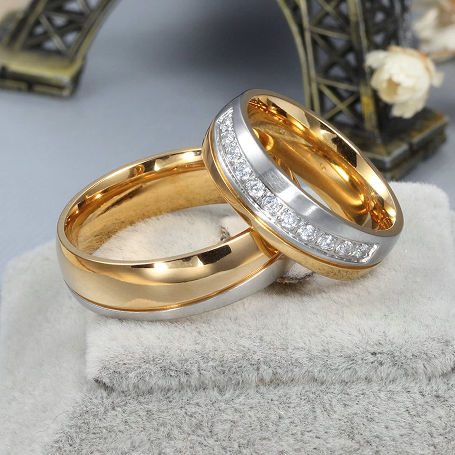 anazoz jewelry his and her for titanium 18k gold plated wedding engagement band couple ring top ring 6mmamazoncom - Rings For Wedding