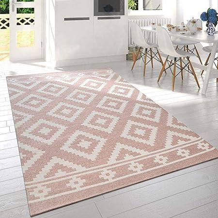 Paco Home Tapis De Salon Moderne Poils Ras Design Scandinave Motif Losanges  Rose Blanc, Dimension:60x110 cm
