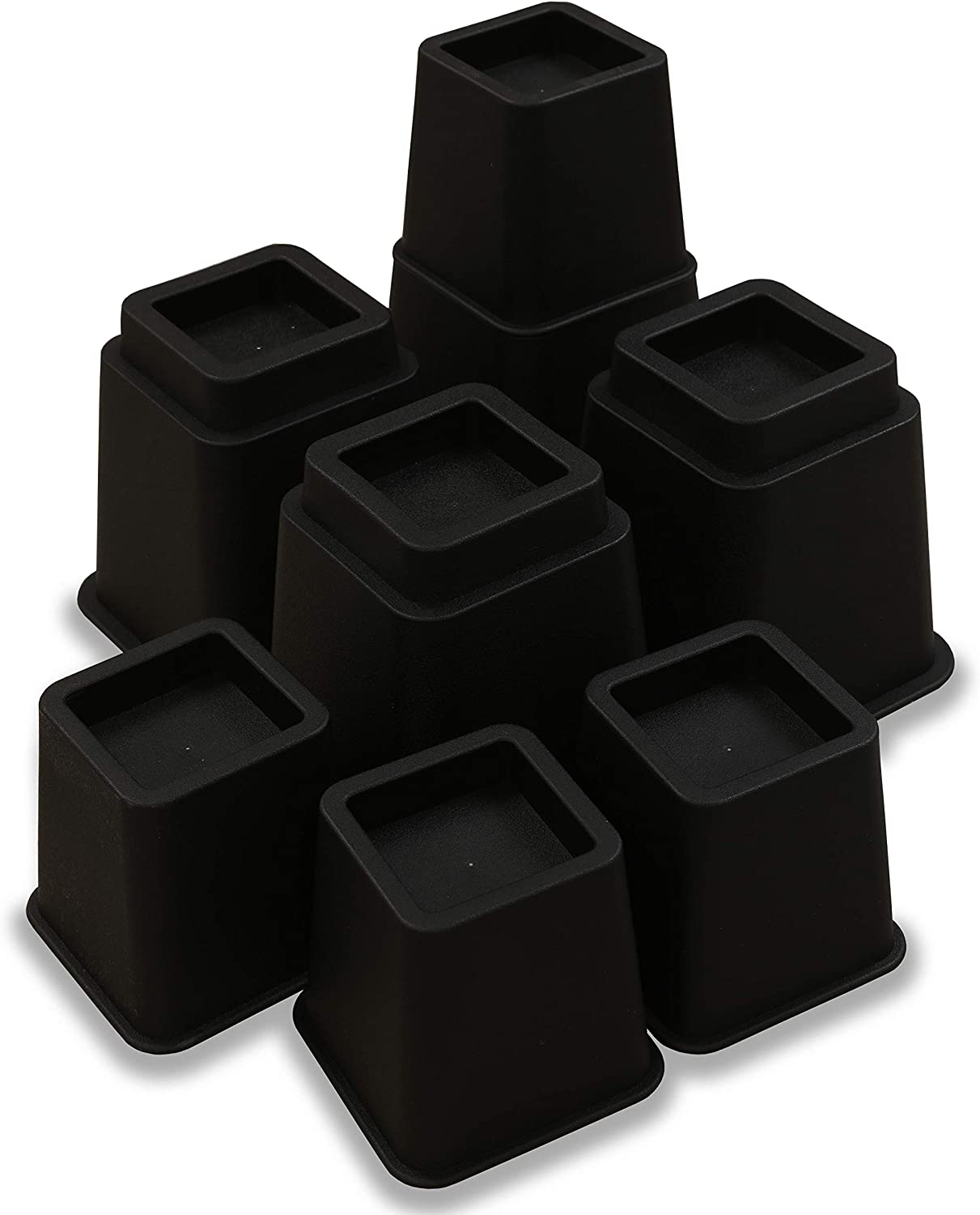 ZOYER Furniture Risers (Black, 8 Pieces Set,) - Heavy Duty Bed Risers Supports up to 1300 lbs - Adjustable 3, 5 or 8 Inch Bed Riser, Table Risers, Chair Risers, Sofa Risers & Desk Risers.