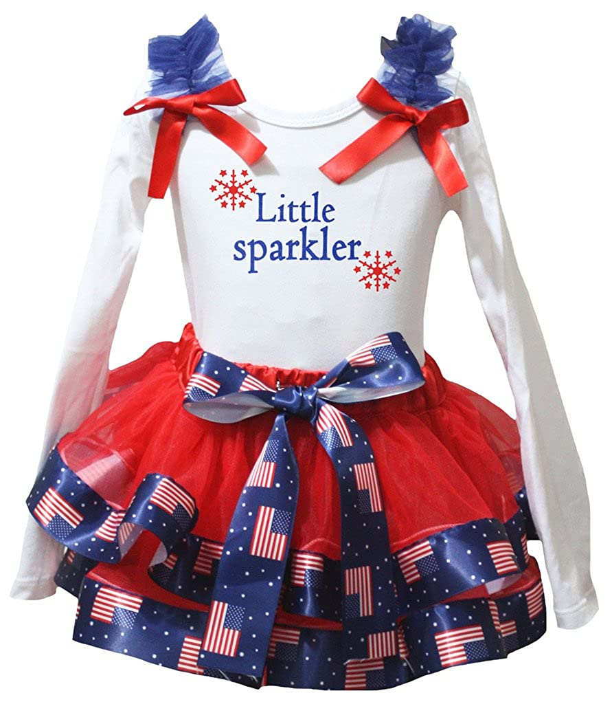 Petitebella Little Sparkle White Shirt US Flag Red Petal Skirt Set Nb-8y