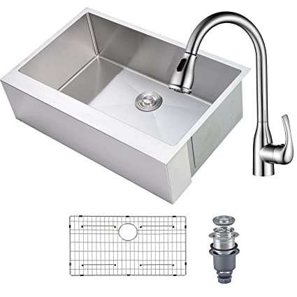 MOWA HAS3321F Kitchen Sink and Faucet Combo, 33\