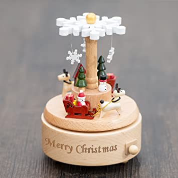 Wooden Music Box Customized Hunzed Dream Christmas Musical Boxes Best Arts Crafts Gift