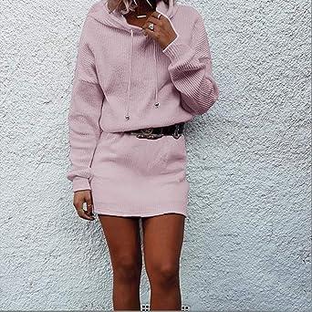 Flyshow damska sukienka z dzianiny, z rolowanym kołnierzem, sweter, bluza z długim rękawem, bluza z kapturem, długa sukienka z dzianiny, sweter z kapturem, elegancka minisukienka na jesień, zimę: