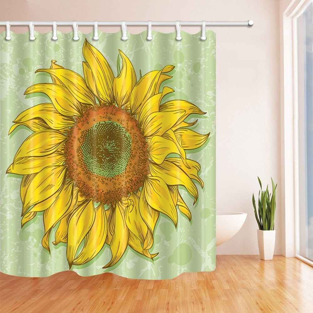 GoEoo Hand Painted Helianthus Sunflowers Shower Curtains Mildew Resistant Polyester Fabric Bath For Bathroom Curtain Hooks Included 69X70in