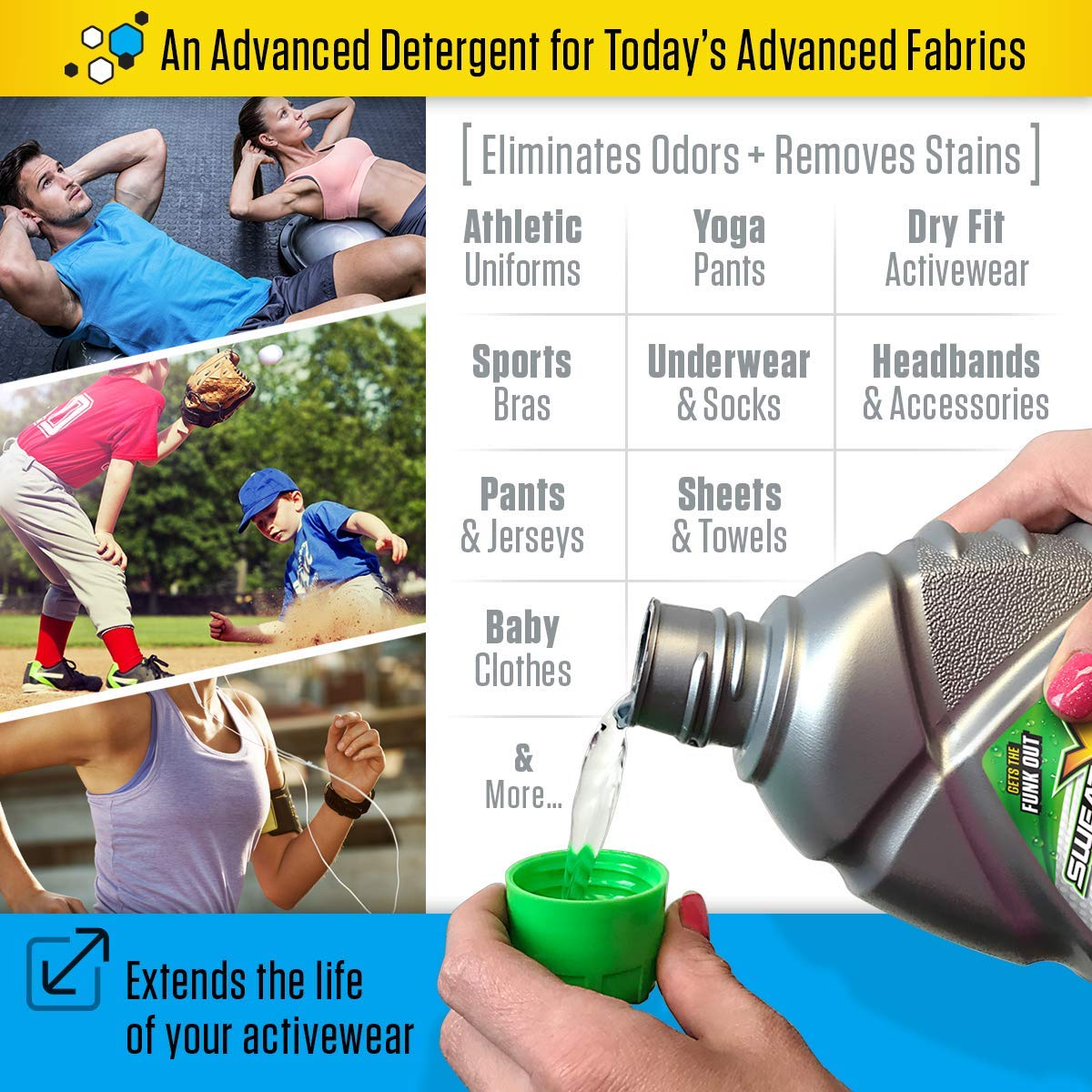 Sweat X Sport Extreme Laundry Detergent, High Performance Sports Wash for Activewear and All Fabrics, 45 Loads by SWEATX (Image #5)