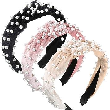 Womens Pearl Shell Crystal Headband Hairband Hair Band Bow Hair Hoop Headwrap