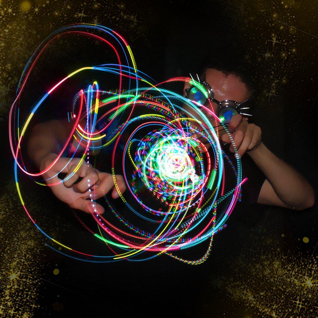 GloFX Clear Ion 3 LED Orbit Light Orbit Rave Orbital Round Circle Zero Rattle