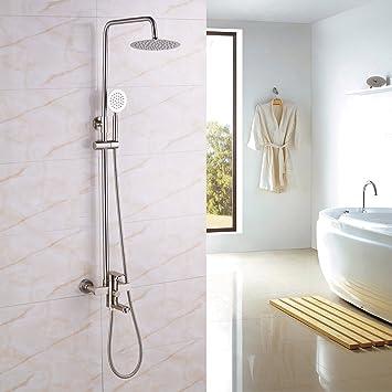 Rozin Brushed Nickel Bathtub Shower Faucet Set 8 Inch Top Showerhead +  Handheld Spray Brushed