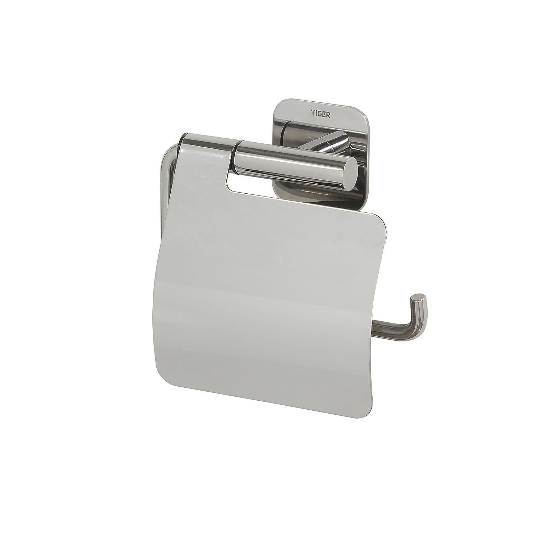 Tiger Colar Toilettenpapierhalter mit Ablage zum Kleben, Edelstahl gebürstet, mit integrierter Klebefolie zur Montage ohne bohren B075V2RSZS Toilettenpapieraufbewahrung