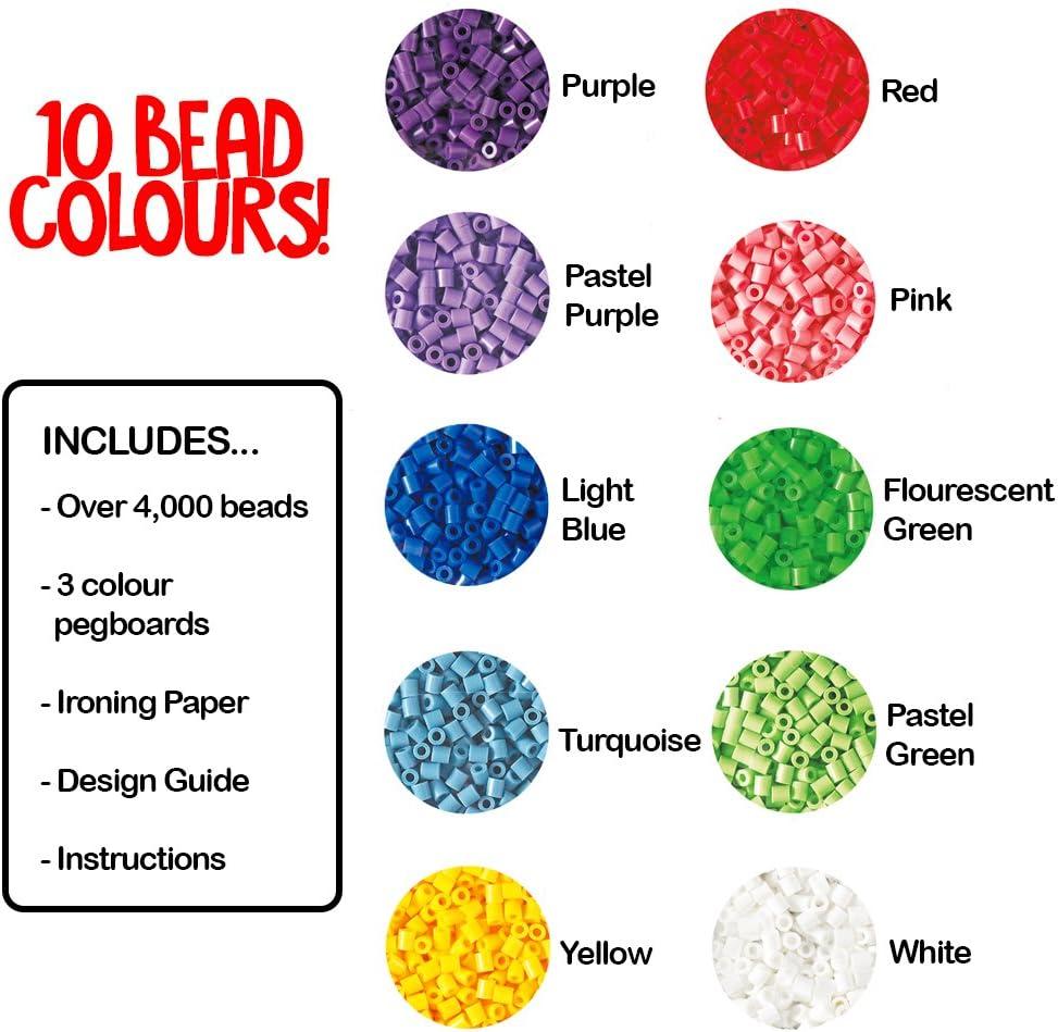 Multicolore Hama 10.2051 4,000 perles et 3 plaques en Rose baignoire