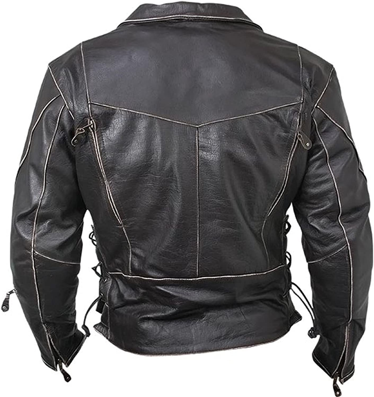 Mens Vintage Distressed Black Biker Style Real Leather Jacket Mens Motorcycle Leather Jacket