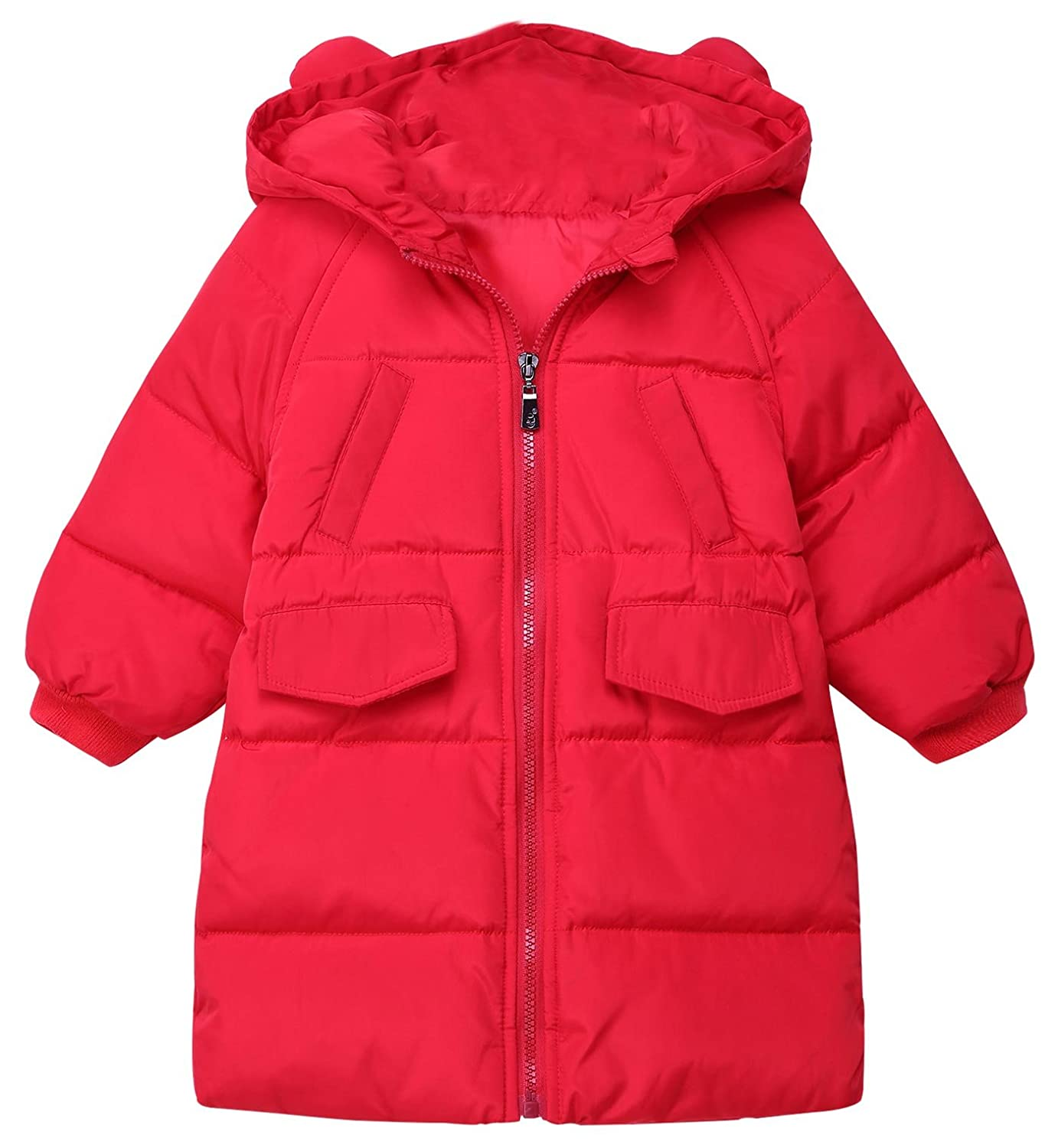 Happy Cherry Girl Winter Down Coat Windproof Puff Hoodie Jacket Outerwear With Ear For 1-6T
