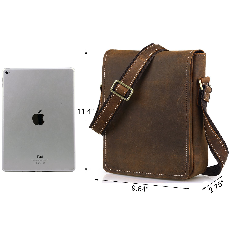 ffcbe85c234e Jack Chris Men s Handmade Leather Messenger Bag Shoulder Bag