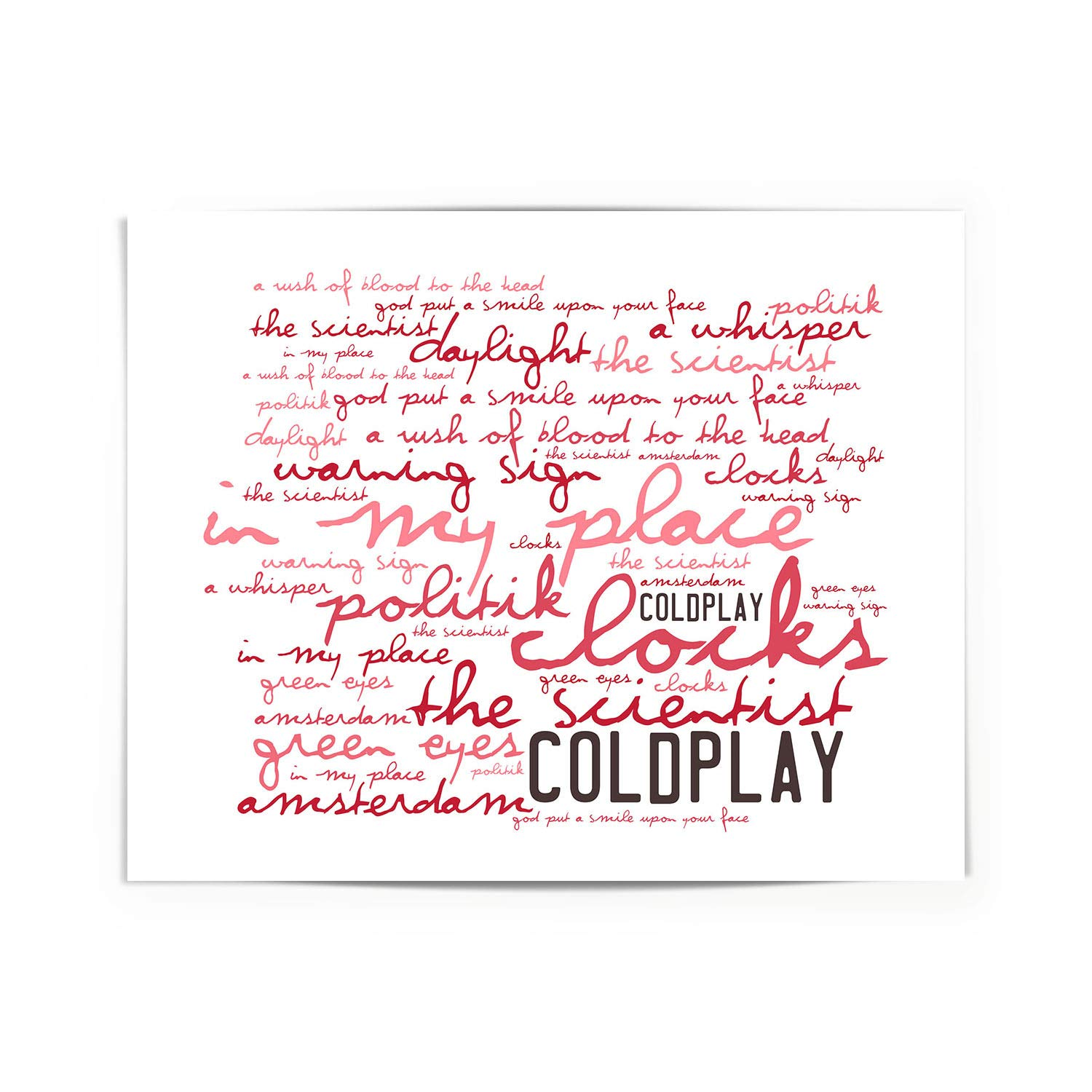 Coldplay Poster Print - A Rush of Blood to the Head - Letra firmada regalo arte cartel: Amazon.es: Hogar