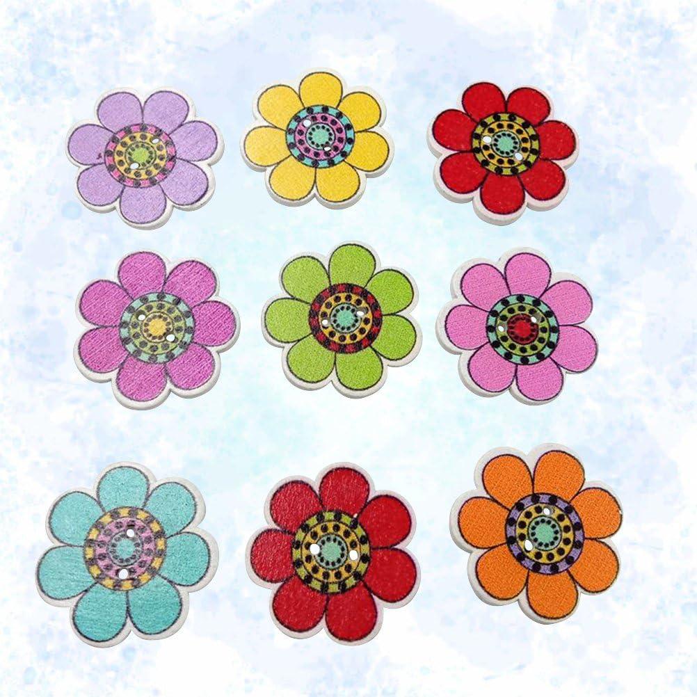 varios colores dise/ño de girasol de dibujos animados Healifty Botones de madera con 2 agujeros para manualidades 25 mm