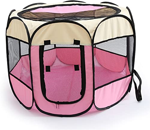 WOWOWMEOW Foldable 8 Panels Pet Playpen Portable Dog Cage Fence Zipper Door Cats, Dogs, Rabbits Small Animals