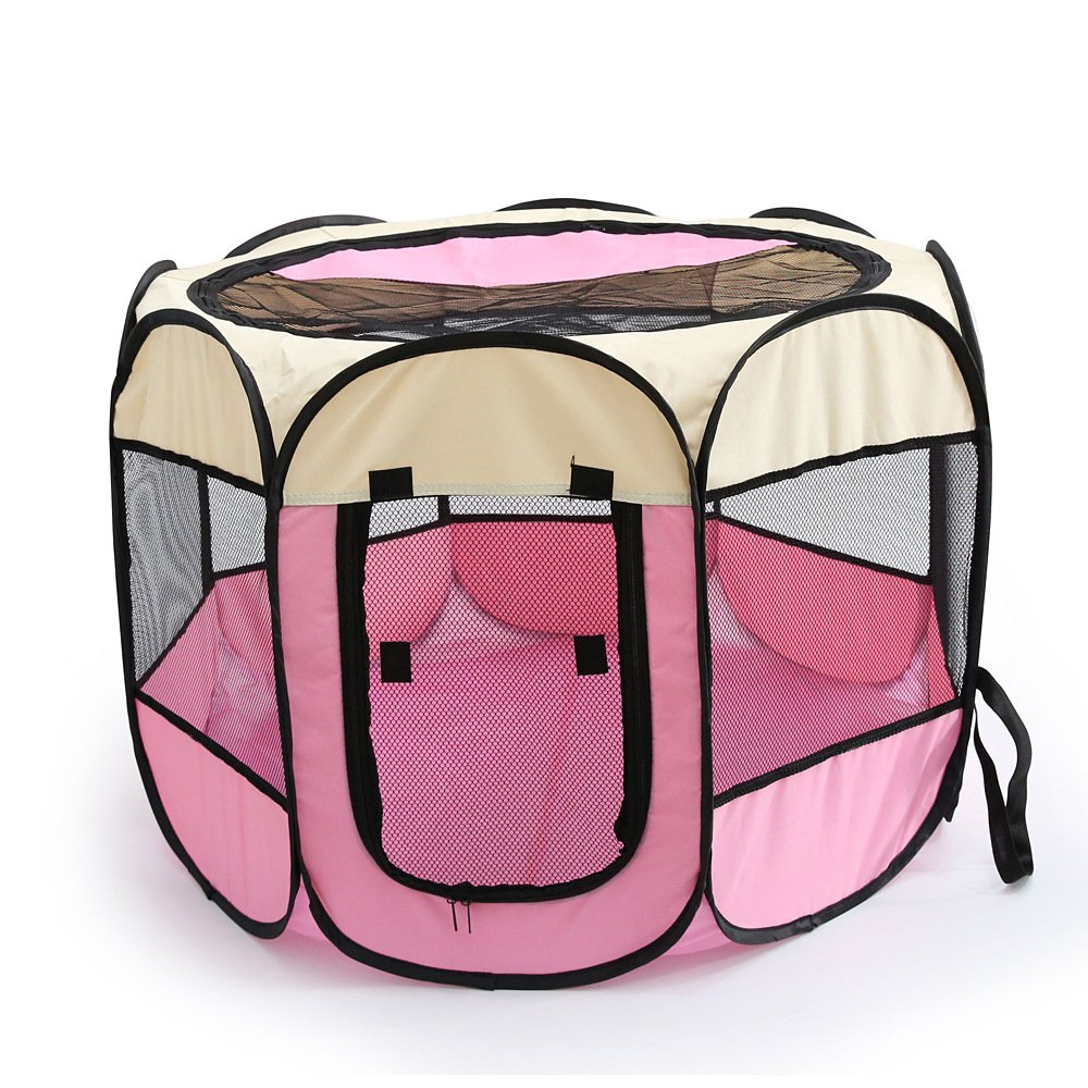 WowowMeow Foldable 8 Panels Pet Playpen Portable Dog Cage Fence with Zipper Door for Cats, Dogs, Rabbits or Small Animals (M, Beige Pink)