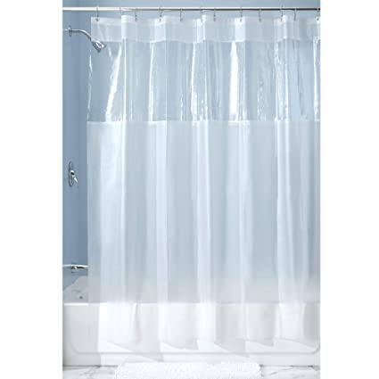 InterDesign Hitchcock EVA Plastic Shower Liner Mold And Mildew Resistant For Use Alone Or With Fabric