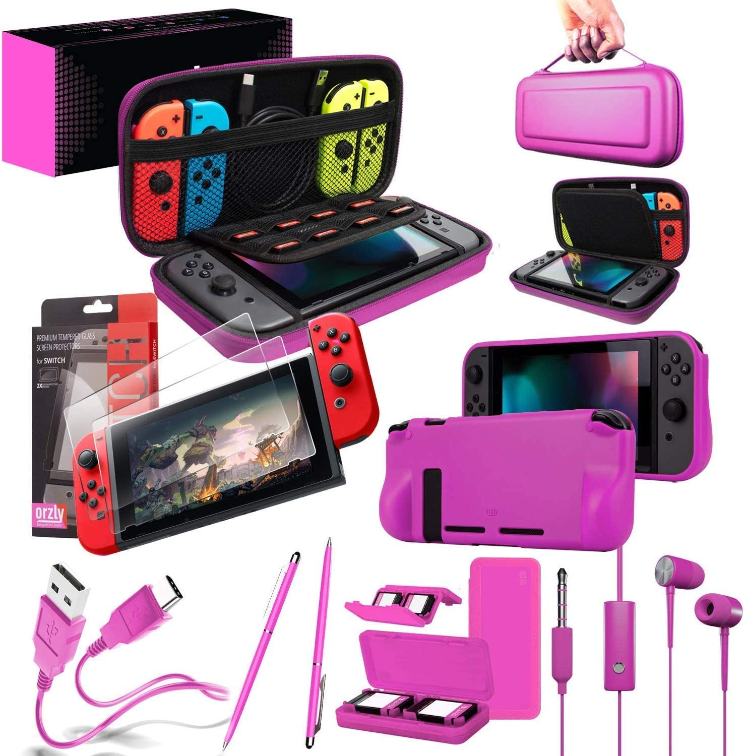 Orzly Switch Accessories Bundle – Includes Orzly Carry Case for Nintendo Switch Console, Tempered Glass Screen Protectors, USB Charging Cable, Switch Games Case, Comfort Grip Case & Headphones [Pink]
