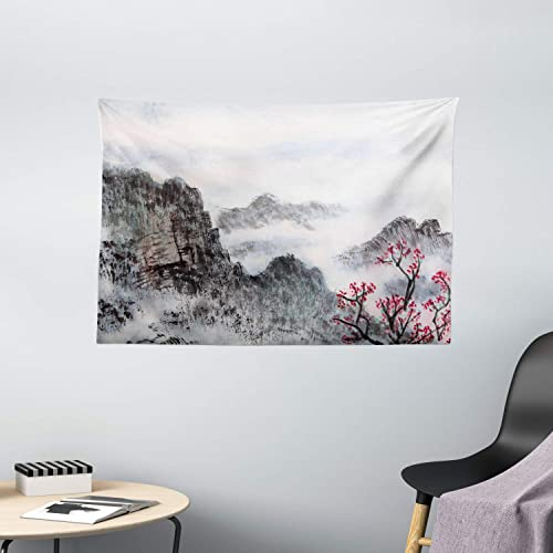 Ambesonne Asian Tapestry, Traditional Chinese Painting Landscape Sakura Cherry Tree Cloudy Mountains, Wide Wall Hanging for Bedroom Living Room Dorm, 60 X 40 , Seal Brown