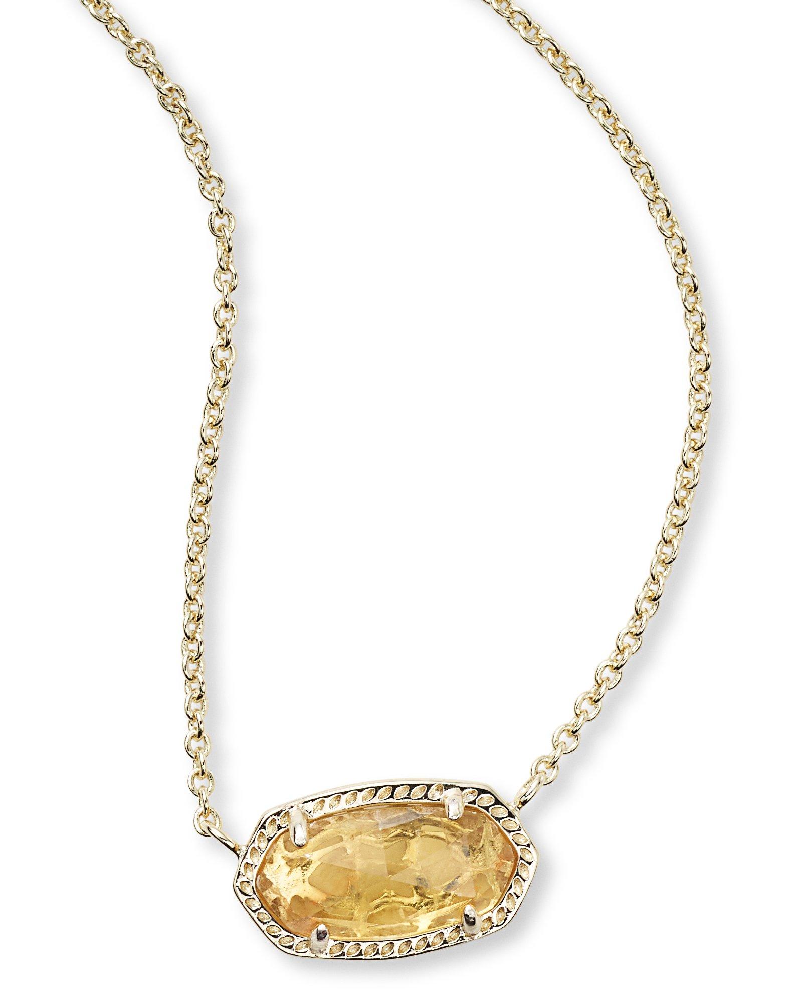 Kendra Scott Women's Elisa Birthstone Necklace November/Gold/Orange Citrine Quartz Necklace
