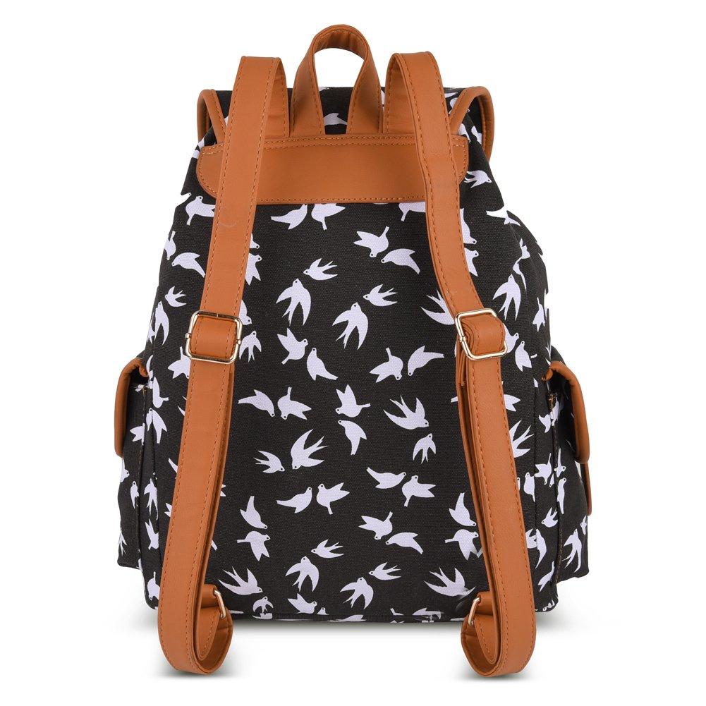 Vbiger Canvas Backpack for Women & Girls Boys Casual Book Bag Sports Daypack (Bird Black) by VBIGER (Image #3)