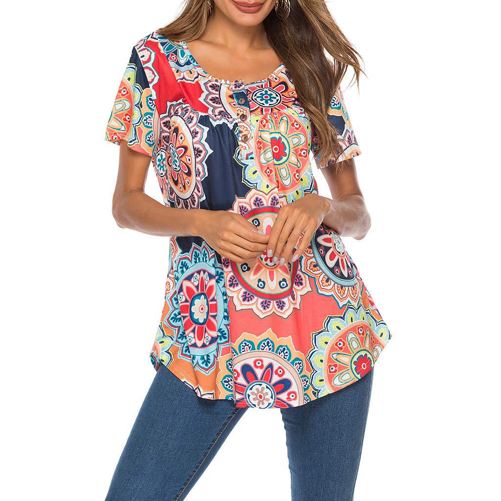 Women's Short Sleeve Tunic Tops Blouse Flroal with Button Crewneck Loose Top T Shirt Pullover Blouse Red