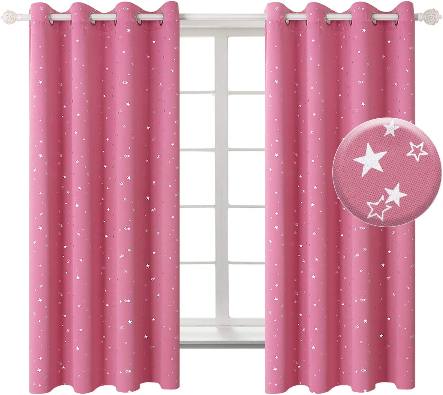 BGment Kids Blackout Curtains for Bedroom - Silver Star Printed Thermal Insulated Room Darkening Grommet Curtains for Living Room, Set of 2 Panels (52 x 63 Inch, Pink)