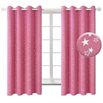 BGment Pink Star Blackout Curtains Kid\'s Bedroom - Grommet Thermal  Insulated Room Darkening Printed Curtains Living Room, Set of 2 Panels (52  x 63 ...