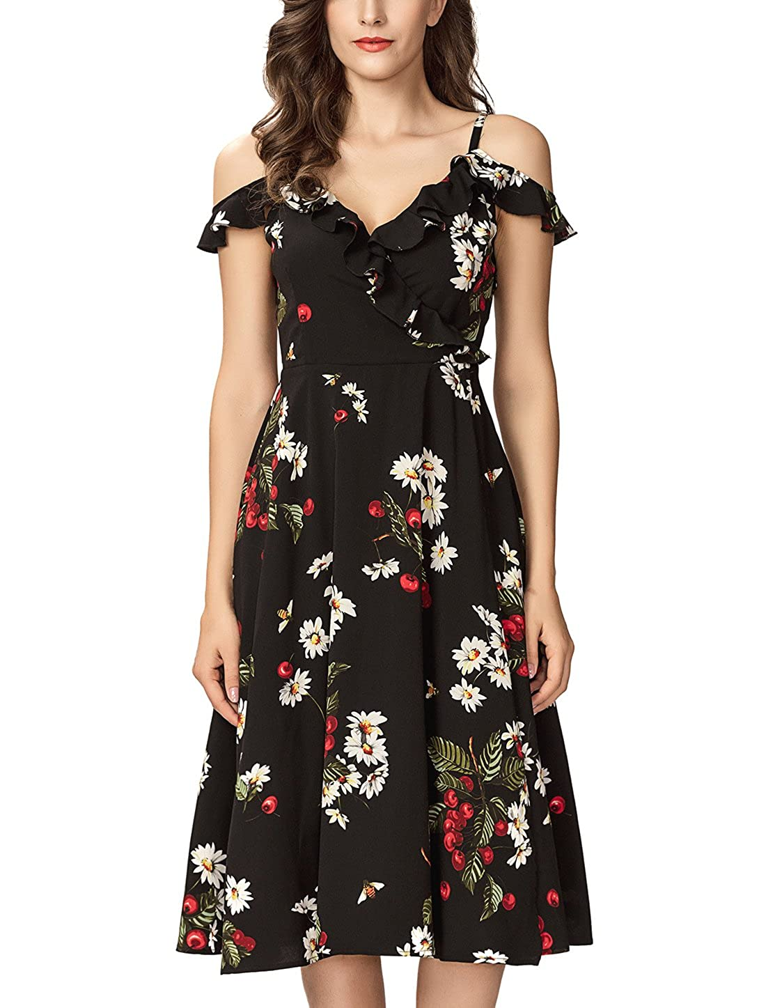 a6359c0fd Noctflos Women s Summer Floral Cold Shoulder Midi Dress for Casual Cocktail  Wedding Guest at Amazon Women s Clothing store