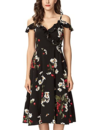 0d01bfe34c Noctflos Women's Petite Flower Printed Midi Cold Shoulder Cocktail Party  Tea Dress